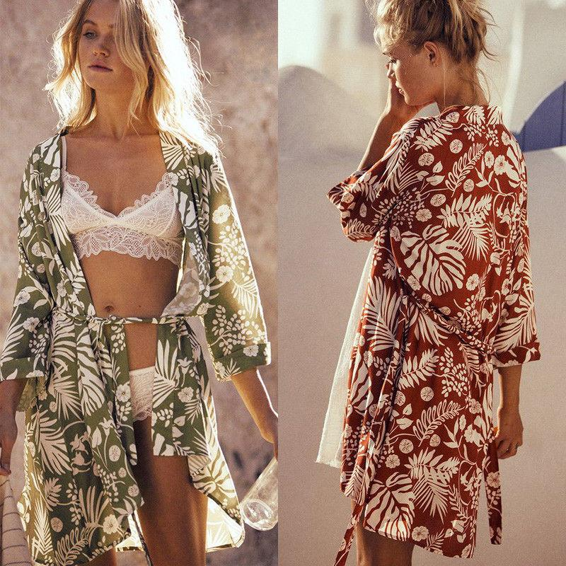 486118ea0be7c 2019 Women Cover Up Beach Kimono Cardigan Blouses Flower Print Summer Tops  Long Sleeve Casual Women Clothes Stylish From Jincaile06, $27.05 |  DHgate.Com