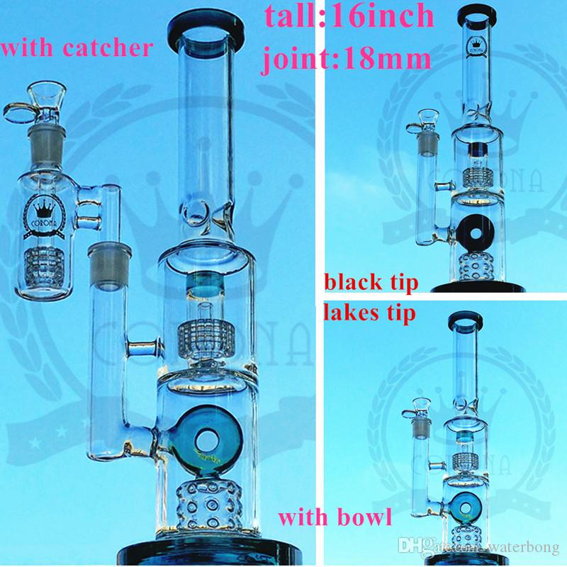 2019 Newest Unique Bong Double Recycler Bongs Slitted Donut Perc Oil Dab Rigs Sidecar Glass Water Pipes 14mm Joint With Bowl