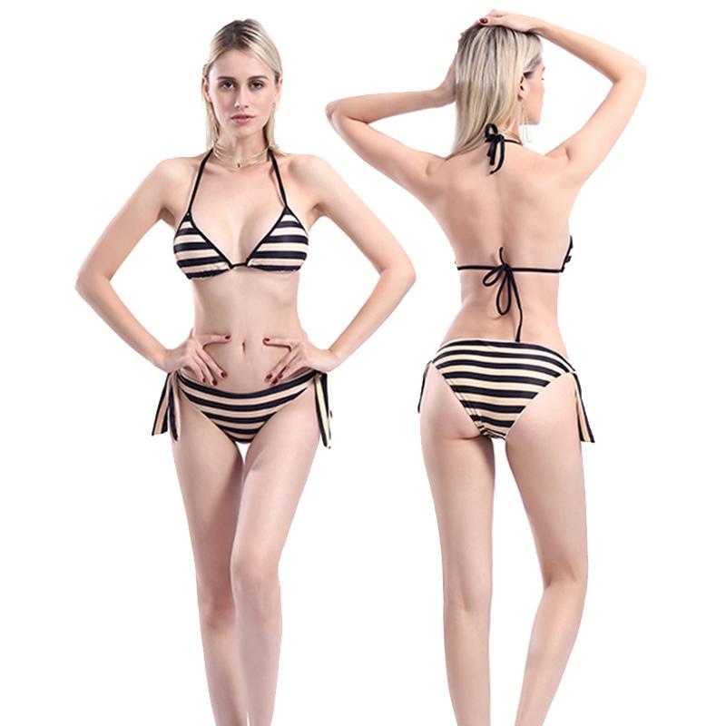 882668ea65e 2019 New Sexy Black Striped Bikini Women Swimsuit Backless Halter Bathing  Suit S L Girl Strappy Bandage Swimwear Micro Bikini Set From Luanxiaobo, ...