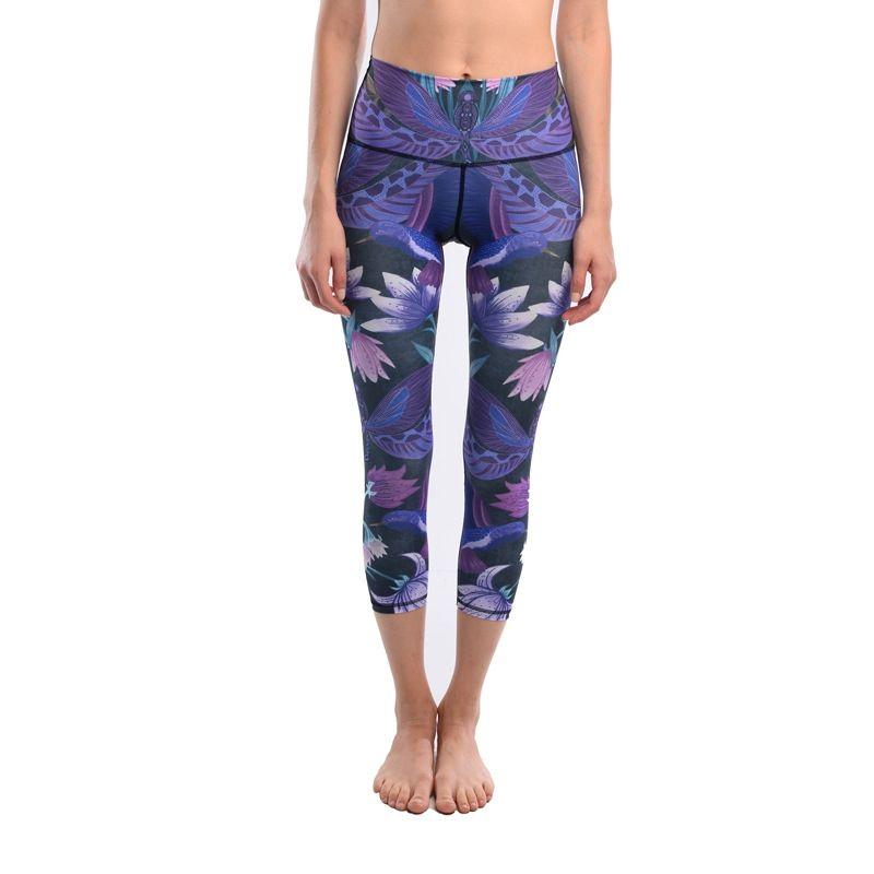 3e6570d3a1b68 2019 JIGERJOGER Heaven Birds Lotus Dragonflies Purple Exercise Women 3/4  Cropped Shorts Yoga Capris Legging Running Jeggings Shorts #311268 From ...