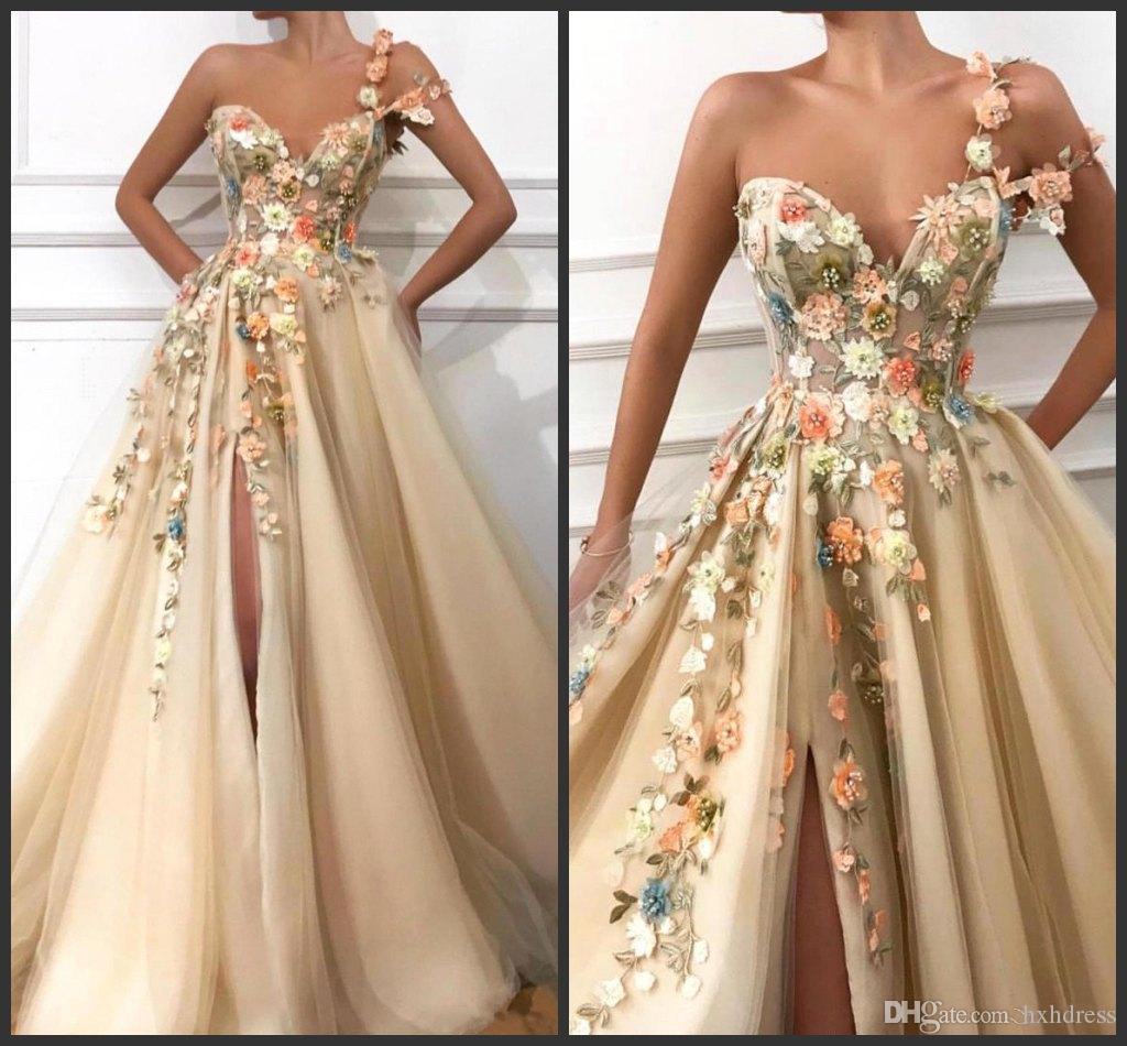 51a35c352be30 2019 New One Shoulder Tulle A Line Long Prom Dresses 3D Floral Lace  Applique Beaded Split Floor Length Formal Party Evening Dresses