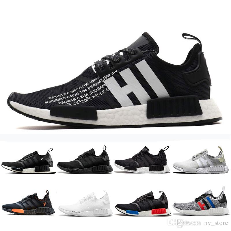 7336afbf53a25 Compre 2019 NMD R1 Atmos Thunder Bred Running Shoes OREO Runner ...
