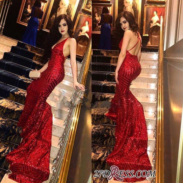 Bling Bling Red Sequins Prom Dresses 2018 Sexy Deep V Neck Crisscross Back  Mermaid Prom Gowns Long Train Evening Party Dress Corset Prom Dresses Formal  ... 0de4fe3ae
