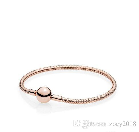 Beautiful Women 18K Rose Gold 3mm Snake Chain Bracelet Fit Pandora Silver Charms European Beads Bracelet DIY Jewelry Making