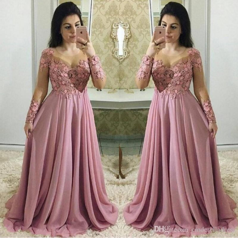 d7121b20199 Dusty Pink Mother Of The Bride Dresses With Long Sleeves Sheer Jewel Neck Wedding  Guest Dress Chiffon Lace Plus Size Evening Gowns Plus Size Formal Mother ...