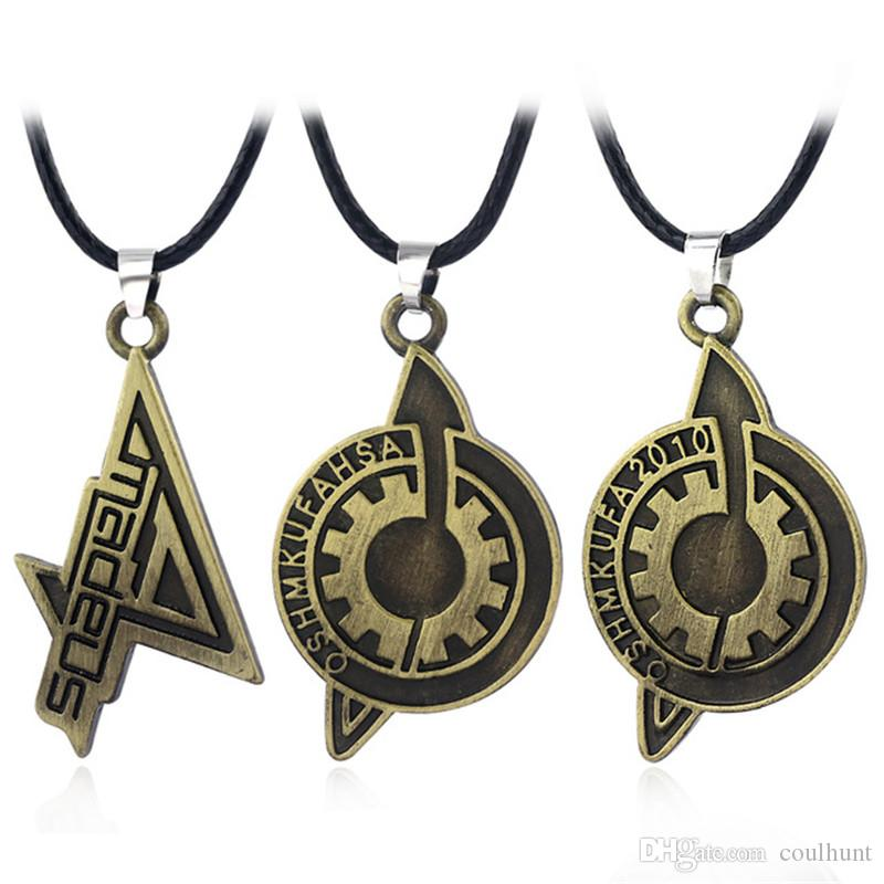 Hot Game Steins Gate Badge Necklaces High quality Antique Bronze Amadeus Makise Kurisu Labmen The Fate of The Stone Necklace