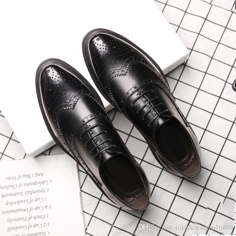 Bullock Carved Men Pointed Toe Brogue Shoes Lace Up Casual Dress ... a7e421e322fc