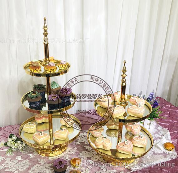 Torre de exhibición de la boda del metal de la bandeja de postre del estante del soporte de la torta del espejo del soporte de la torta plateado