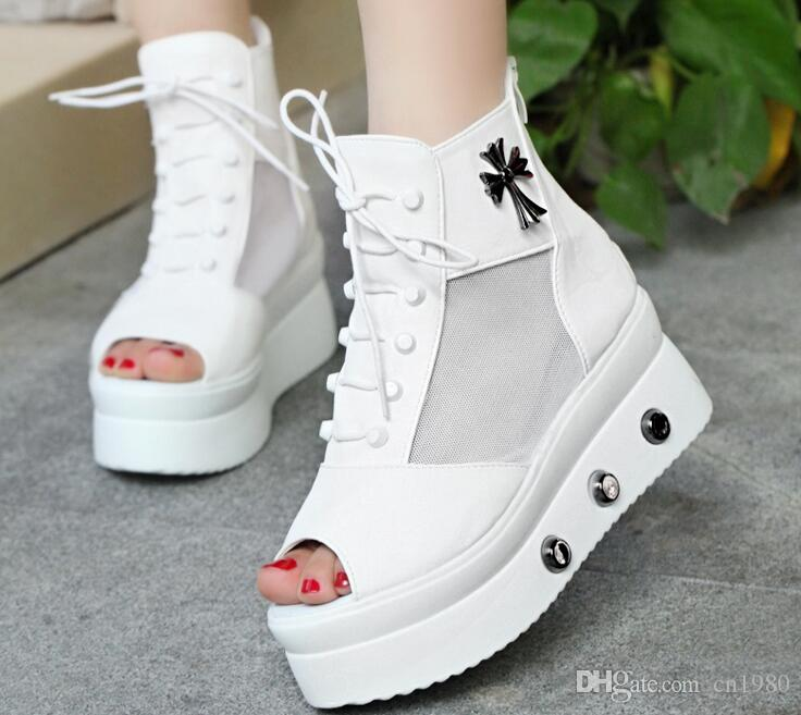 d44984c7e2c2 2019 Summer Woman Fish Mouth Sandals Platform Shoes Net Yarn Rivet Lace Up Hollow  Out Comfortable Breathable Sandals White Wedges Cheap Shoes For Women From  ...