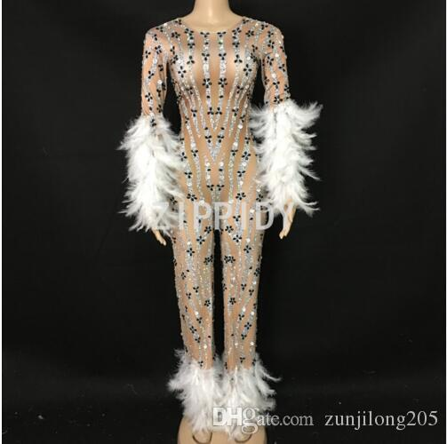 aec1a29835d99 Sparkly Rhinestones White Feather Jumpsuit Long Sleeves Spandex Bodysuit  Big Leggings Birthday Party Singer Evening Stage Wear