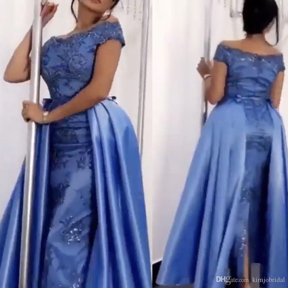 311f7e33b Lavander Prom Dresses With Detachable Train Crew Neckline Lace Appliques  Beading Sequins Sheath Ankle Length Evening Dresses Vestidos Flowy Prom  Dresses ...