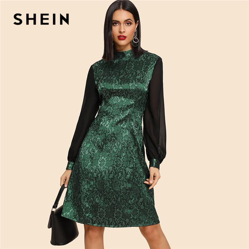 998f07a841c0 SHEIN Going Out Green Contrast Balloon Sleeve Jacquard Stand Collar Knee  Length Dress 2018 Autumn Modern Lady Women Dresses Short And Long Dresses  Evening ...