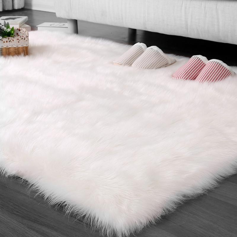 Fabulous Cilected Rectangle White Gray Luxury Faux Fur Carpets For Living Room Soft Long Plush Seat Pad Sofa Bedroom Custom Carpet Download Free Architecture Designs Scobabritishbridgeorg