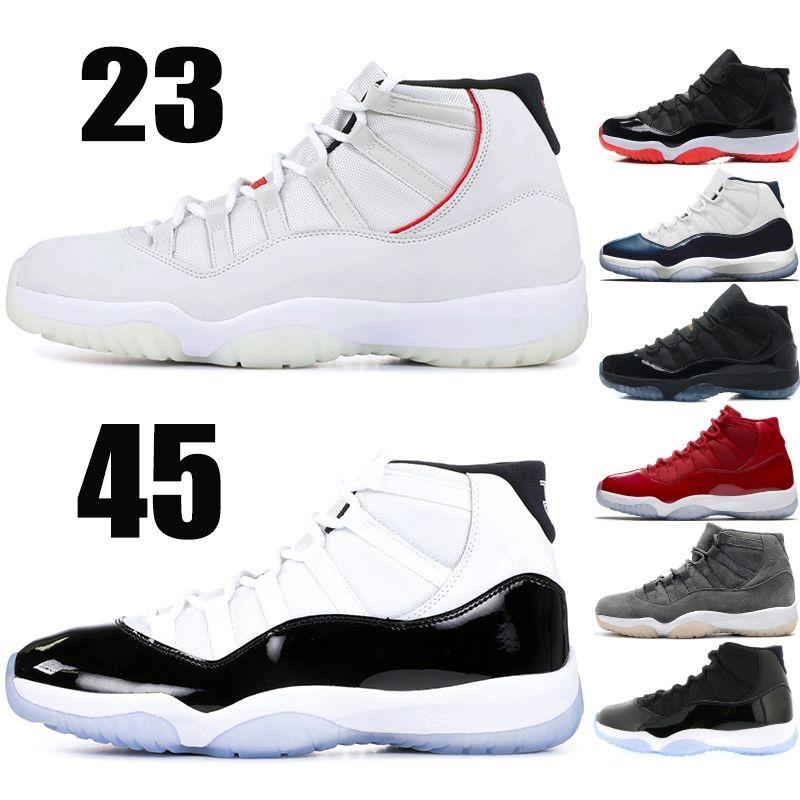 Nike Air Jordan Retro 11 XI Chaussures de basket 2019 New Concord 45 Space Tint Space Jam Midnight Navy Blue UNC 11s Chaussures de sport Designer