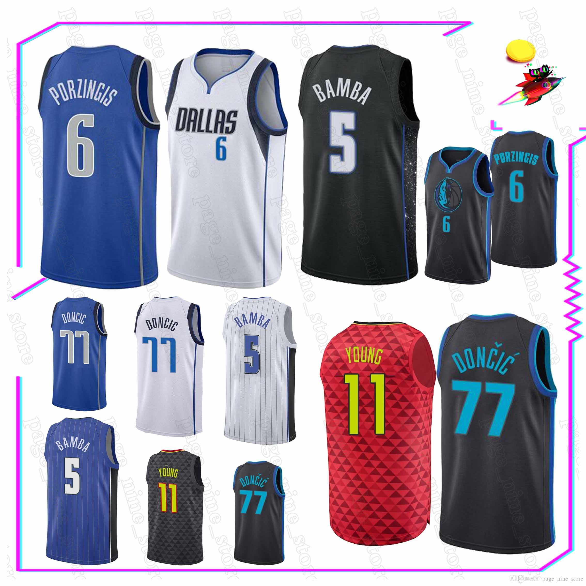 d6faa533 6 Porzingis 77 Doncic 5 Bamba 11 Young jersey Hot sale high-quality 2019  new men basketball tracksuit jersey
