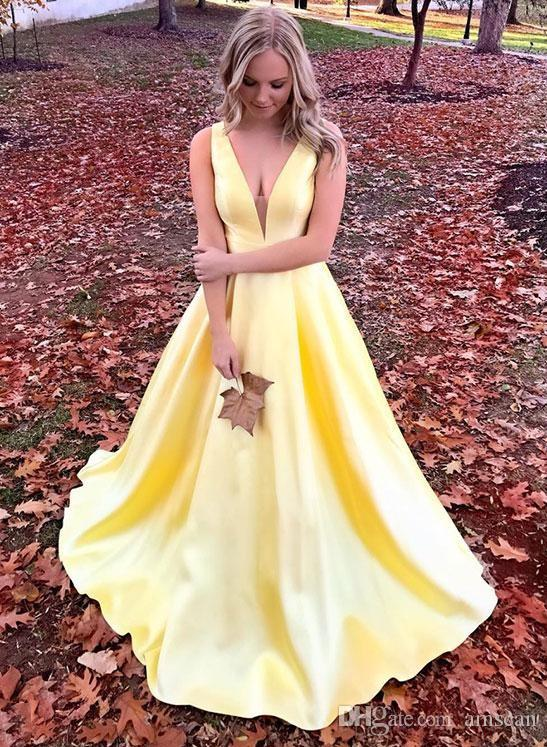 9cac570004ce Light Yellow 2019 Elegant V Neck A Line Prom Dress Floor Length Satin  Special Occasion Dress For Women Plus Size Evening Party Formal Gowns Prom  Dresse S ...