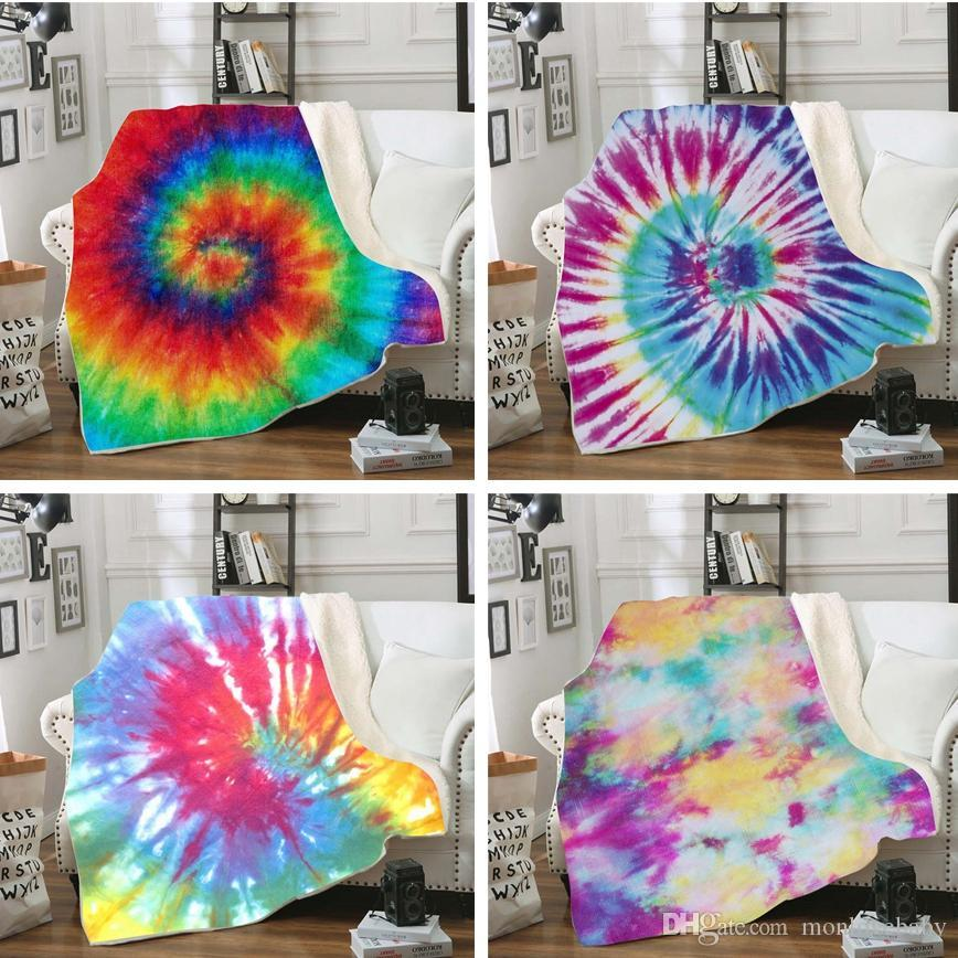 3D Digital Print Throw Blanket Creative Winter Warm Baby Blanket Swaddling Bedding Quilt Nap Blankets Rainbow Travel Swaddle new LJJ-TTA1666