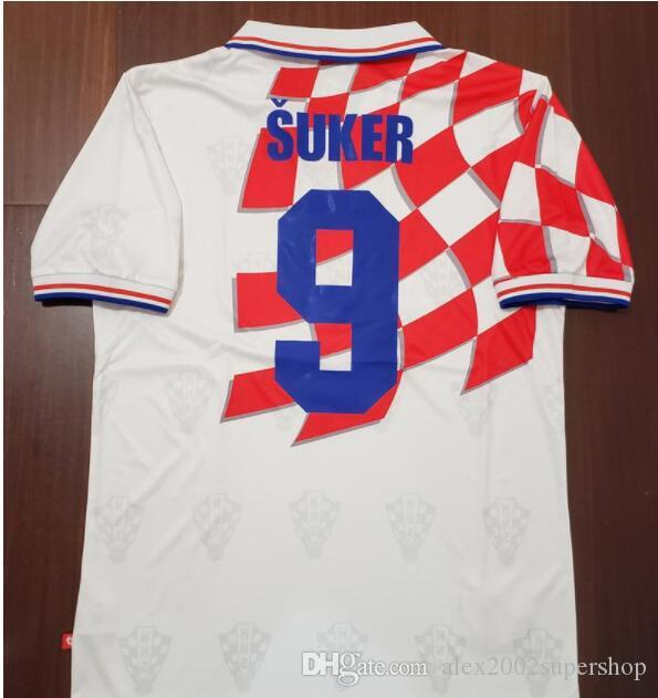 1998 Classic Vintage Croatiaes Jerseys Home Away Blue White 9 Suker ... 6fdb424aa