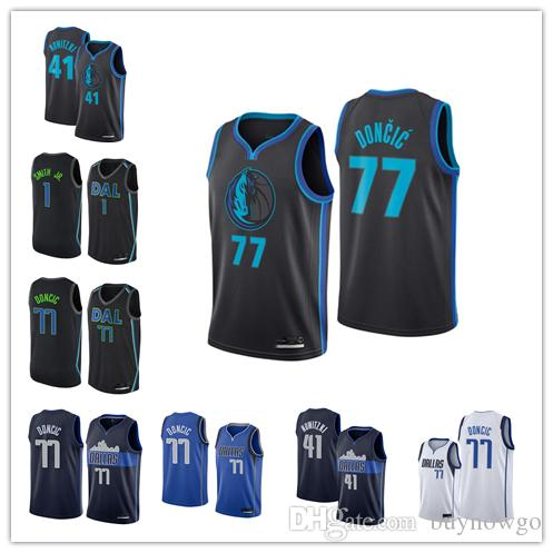 detailed look 5cd8d 13dea 2018-2019 Dallas Men's Mavericks jersey Swingman Basketball Jersey 77 Luka  Doncic 41 Dirk Nowitzki 1 Dennis Smith