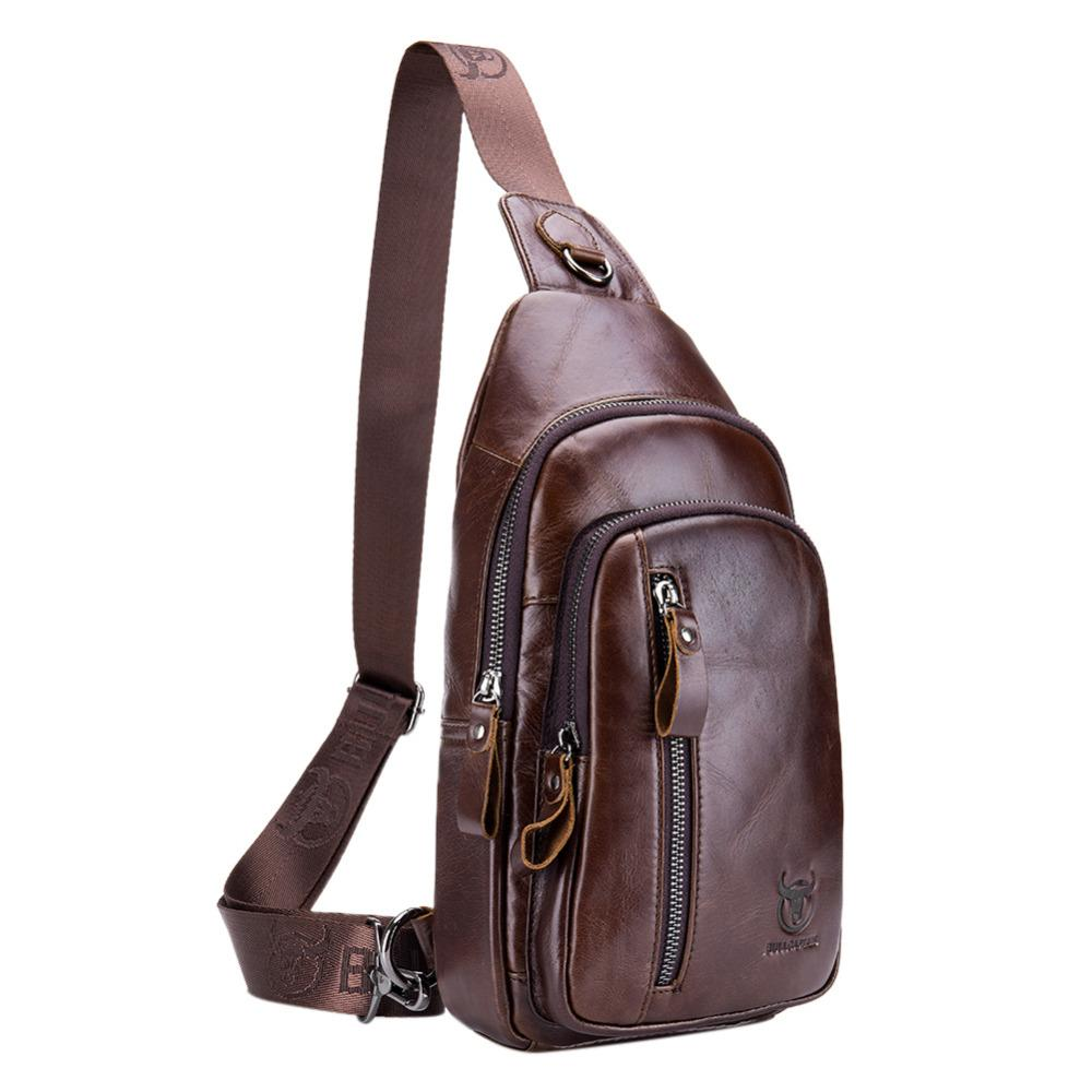 0399138e78fb BULL CAPTAIN 2018 Fashion Genuine Leather Crossbody Bags Men Casual  Messenger Bag Small Brand Designer Male Shoulder Bag 019 Pink Fanny Pack  Hip Pack From ...