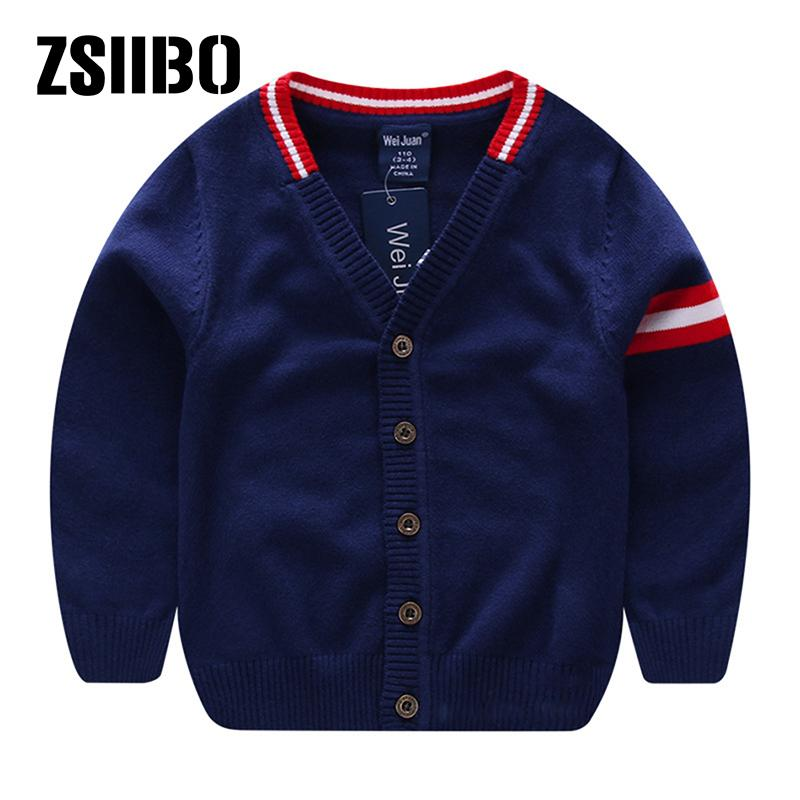 6b809a7d679a8 ZSIIBO Cotton Round neck Long sleeve Boys sweater Pure color Children s  sweater Cardigan striped Fashion trend Baby s