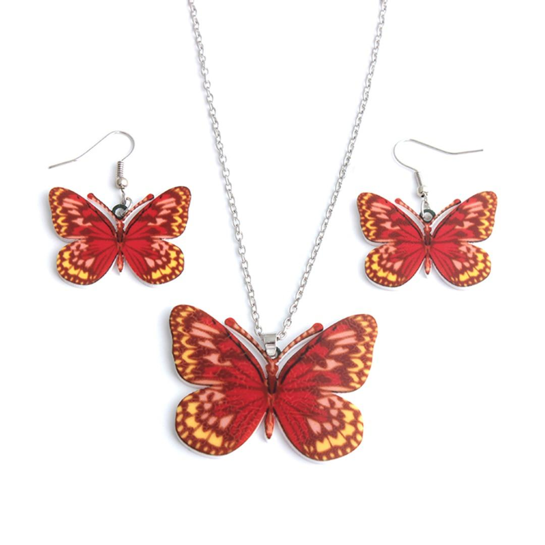 Fashion Butterfly Heart Acrylic Earring Necklace Jewelry Set Women Charm Long Pendant Necklace Colar Cute Animal Dangle Earring