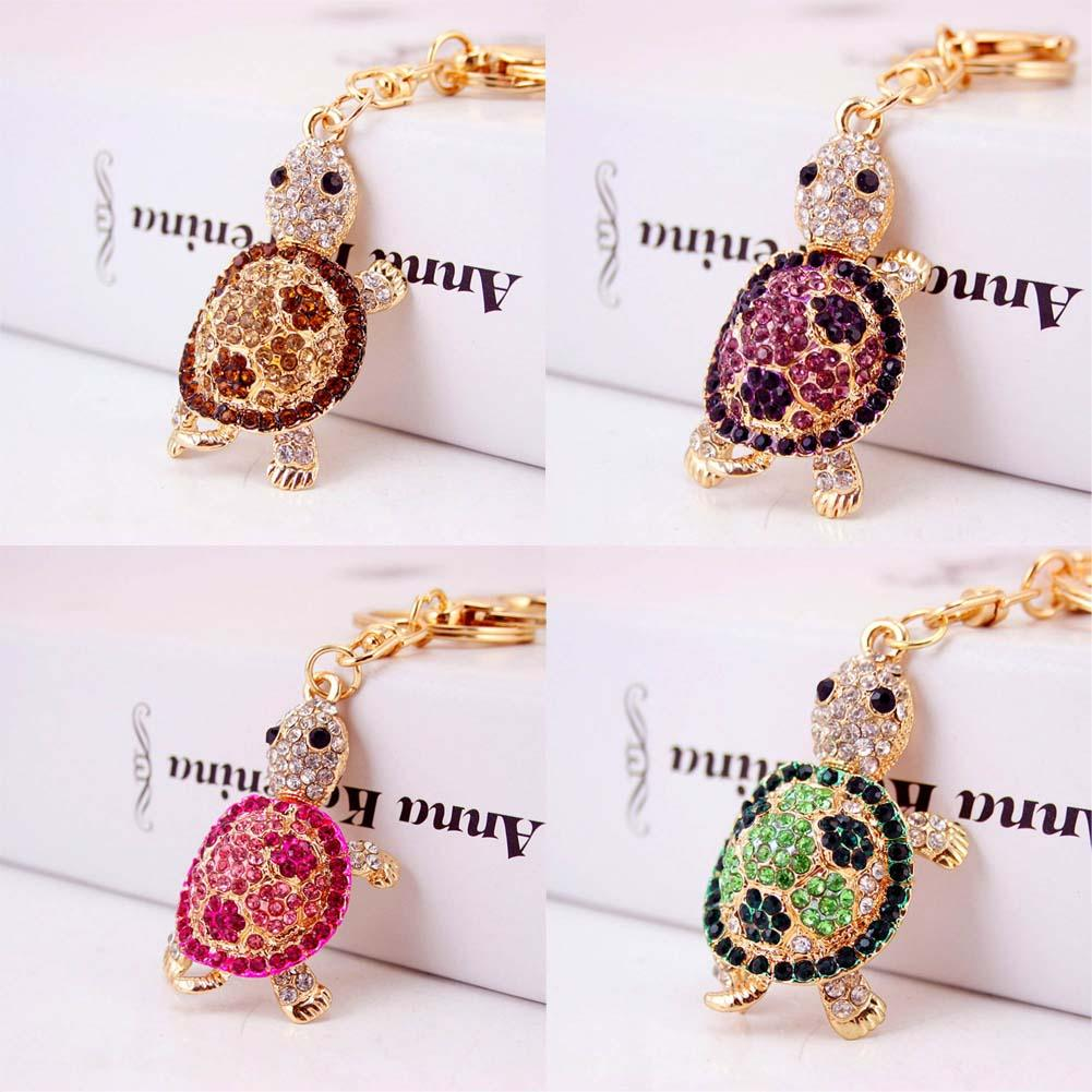 Charming Trinket Gold-color Alloy Key ChainTortoise Keychains Metal Car Keyring Fashion Animal Turtle Women Handbag Key Holder