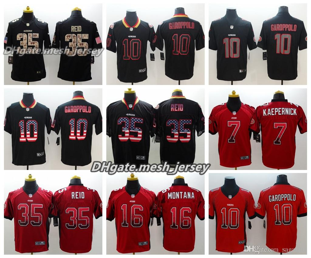low priced 53a45 acc72 Men San Francisco Jersey 49ers 7 Colin Kaepernick 10 Jimmy Garoppolo 35  Eric Reid 16 Joe Montana Color Rush Football Jerseys