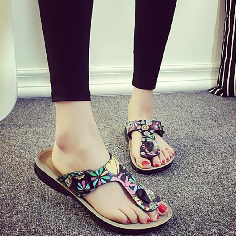 d5604b93d COOLSA Women S Summer Flat Sandals Outdoor Leisure Non Slip Ladies Flip  Flops Cork Flower Girls Beach Slippers Drop Shipping Boots Sale Western  Boots From ...