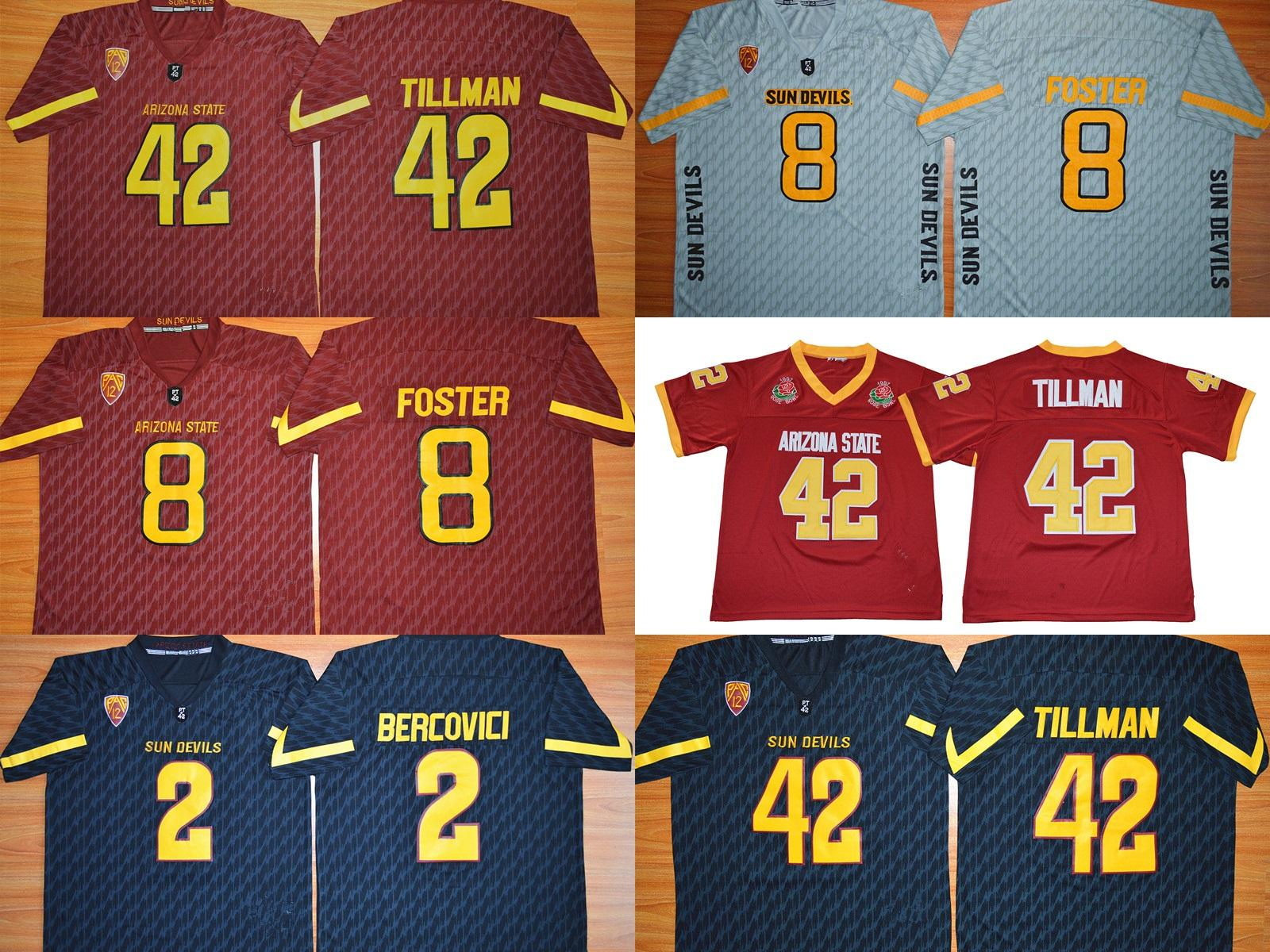 huge discount 5334f 77156 Factory Outlet- NCAA Arizona State Sun Devils Tillman 42 Bercovici 2 D.J.  Foster 8 Embroidery Logos College Football Jerseys, Mix Order