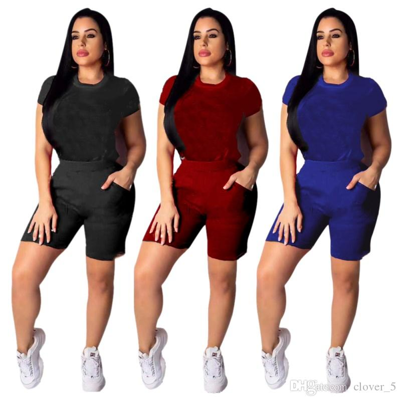 Womens Short sleeves and short pants suits Two Pieces Set Fashion Sexy Jogging Sports Suits Women Sportswear Tight sport klw0650