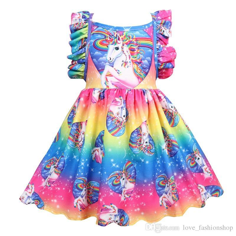 f83d2c5068659 2019 Girls unicorn Backless Dress New Summer Kids Back Bandage angel wings  Sleeve suspender Vest Dresses Princess Children boutique clothes
