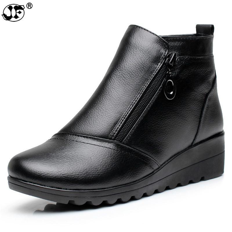 bout côté au véritable bottines garder femmes glissière à confortables Cuir rond noir compensées mode hiver fermeture d talon chaud chaussures brun sCtdrhQx