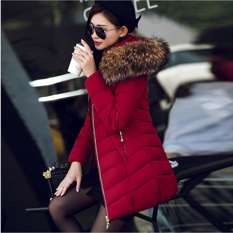 6349ce5a6d41 2018 Women Winter Down Coats Warm Thick Jacket Slim Faux Fur Collar Hooded  Parka Coat Lady Plus Size Outerwear Solid Color Clothing Wholesale From ...