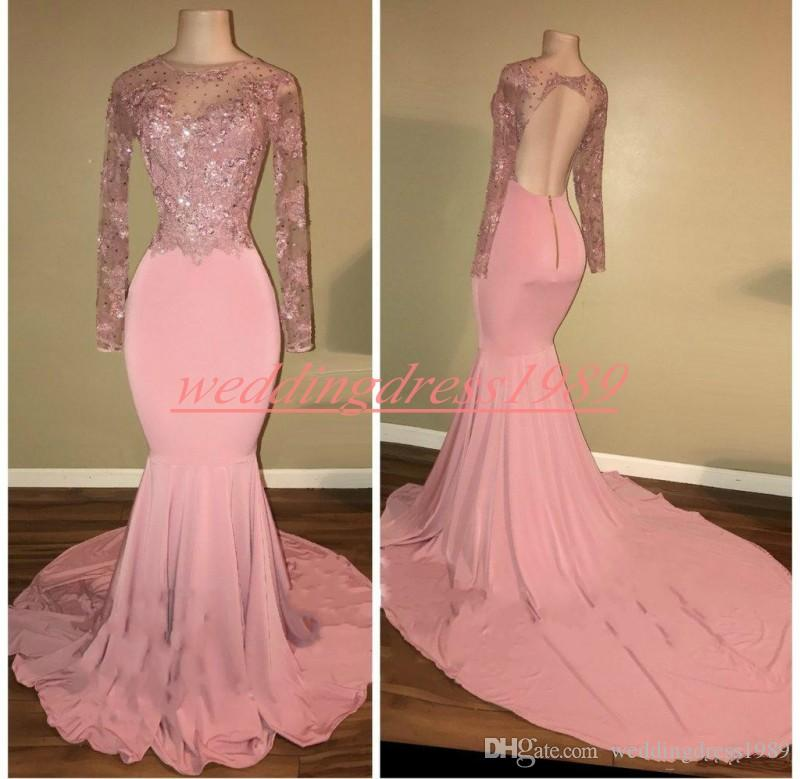 Trendy Mermaid Lace Long Sleeve Prom Dresses Illusion Hollow Back African Pageant Robe De Soiree Evening Gowns Celebrity Special Occasion