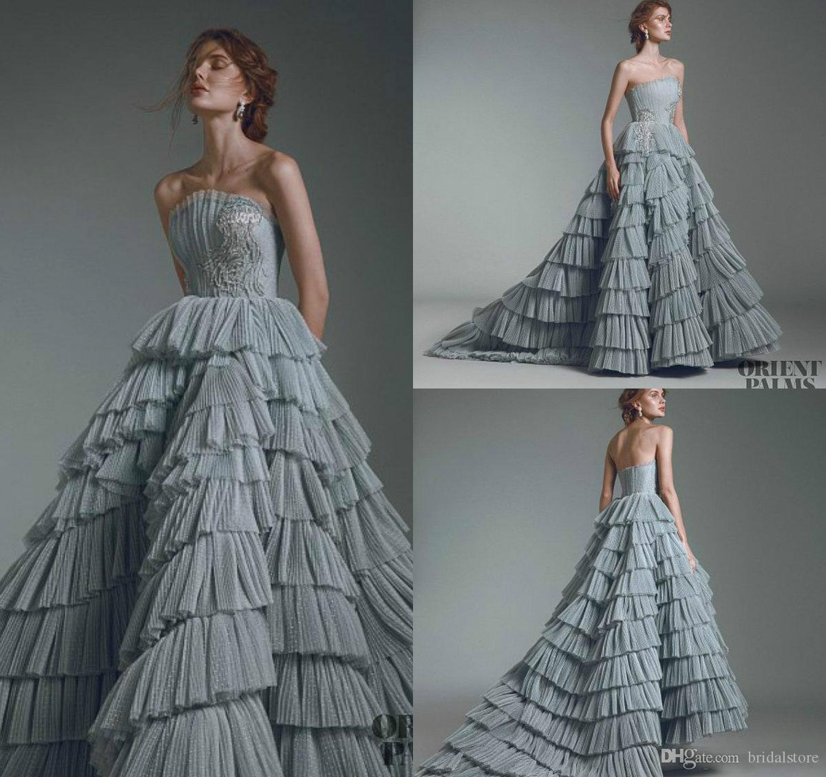 819cd6ea07f Dusty Grey Luxury Prom Dresses Strapless Puffy Tulle Ball Gown Tiered  Ruffles Skirts Elegant Evening Formal Party Dress Robes De Soirée 2018  Vintage Prom ...