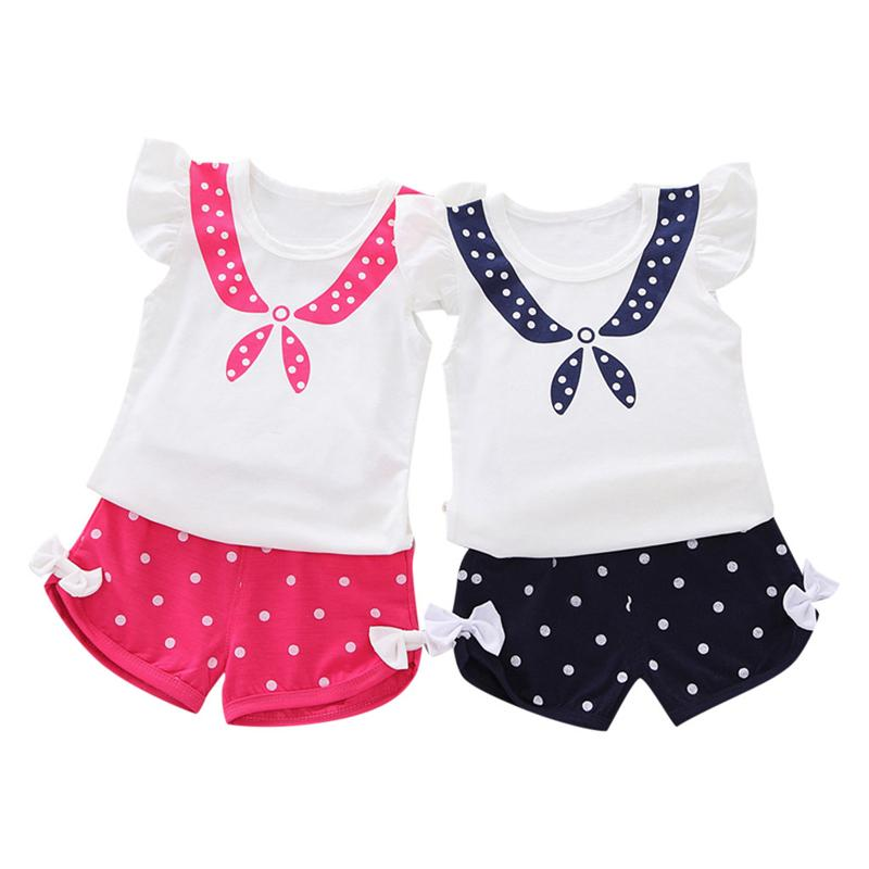 095300418 2019 TELOTUNY Toddler Baby Kid Girl Fly Sleeve Wave Print Ruffles Dot Top Bowknot  Short Pant Outfits Set Baby Clothing Set Princess G From Ferdimand, ...