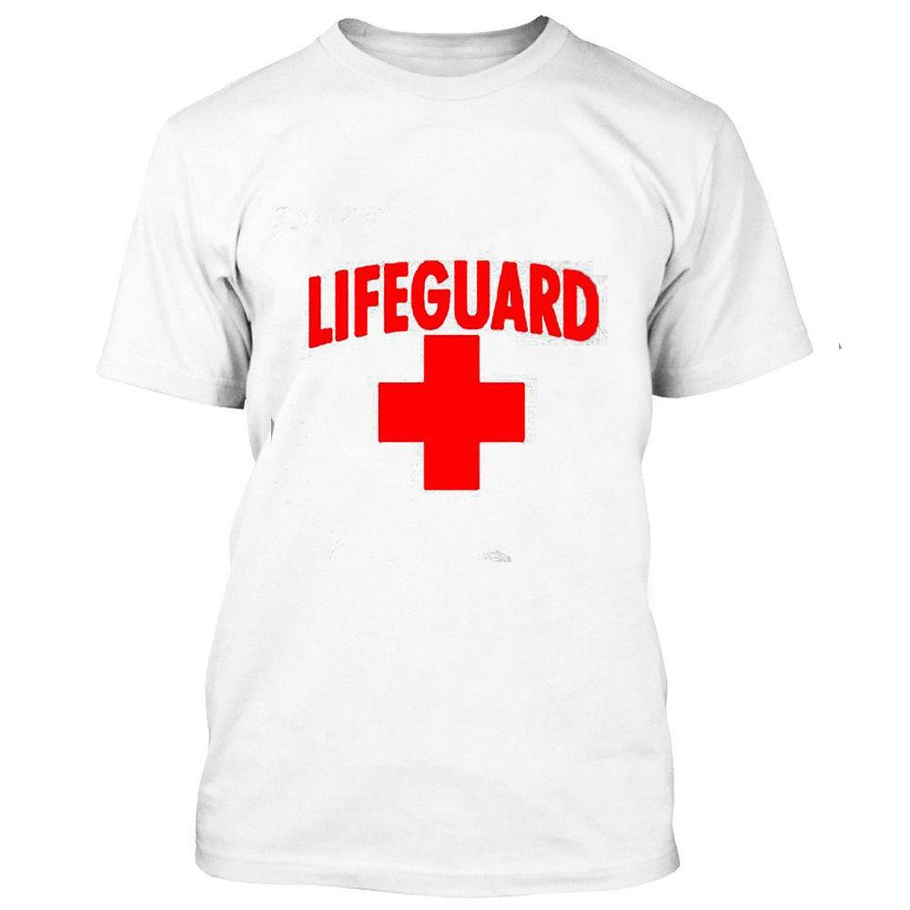 be1399972e48 LIFEGUARD MAN TSHIRT RED LOGO BEACH TEE SHIRT CALIFORNIA BEACHES Custom  Printed