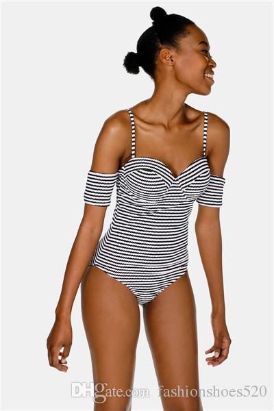 ee8f8d11b Compre Sexy One Piece Swimsuit Push Up Acolchoado Swimwear Mulheres  Listrado Swim Wear Maiô Senhora Fora Do Ombro Natação Monokini Bodysuits  Macacões De ...