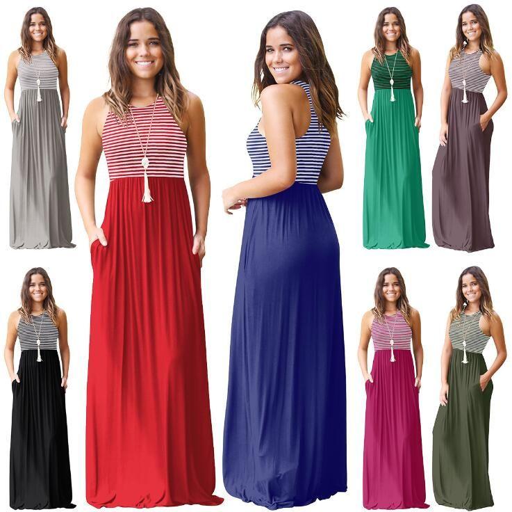 37788d770d665c 2019 Striped Sleeveless Maxi Dress Women Tank Dress Boho Summer Long ...