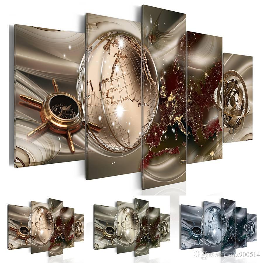 Fashion Wall Art Canvas Painting 5 Pieces Brown Green Blue Diamond Abstract Modern Map Home Decoration, No Frame