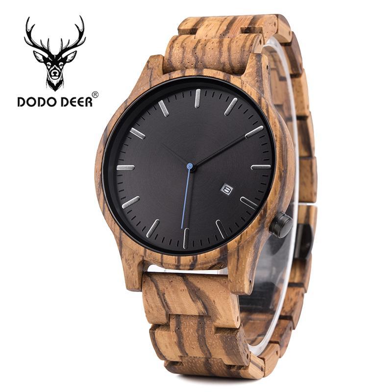 88598a67cf51 Compre DODO DEER Reloj Esqueleto Hombres Negocios Japón Movt Cuarzo Cebra  Madera Relojes Muñeca Marca Diseño Moda Reloj Hombre Con Calendario A   72.59 Del ...