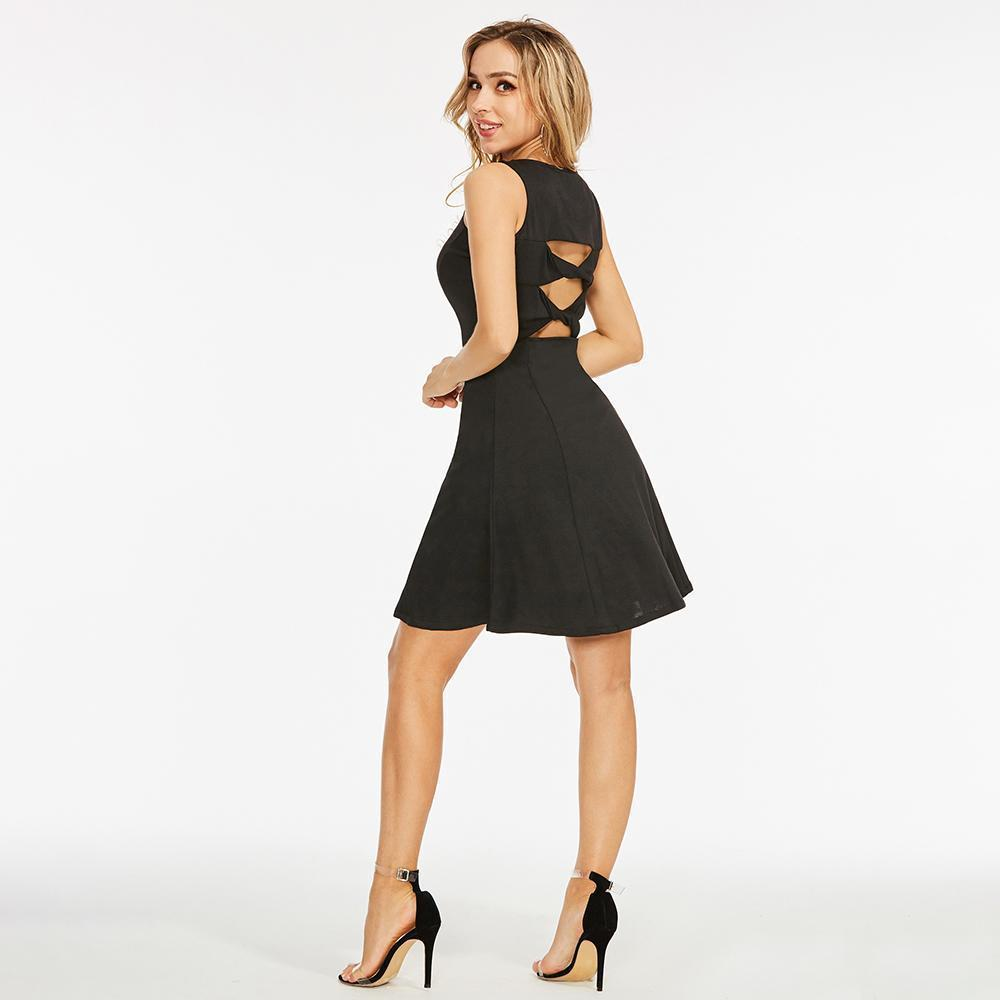 3945d0aa097 2019 Summer Goth Mini Dress Plus Size Sexy Women Hollow Out Short Dress  Sleeveless A Line Elegant Female Black Mini Dress Yellow Dresses Black  Cocktail ...