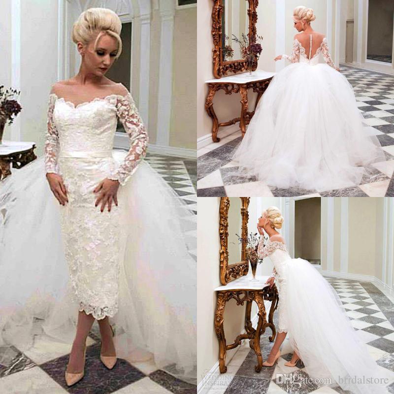 79fe660ca4bdf Designer Sheath Lace Tea Length Wedding Dresses With Detachable Overskirts  Bohemian Summer Country Bridal Gown Turkey Modest Reception Short Wedding  Gown ...