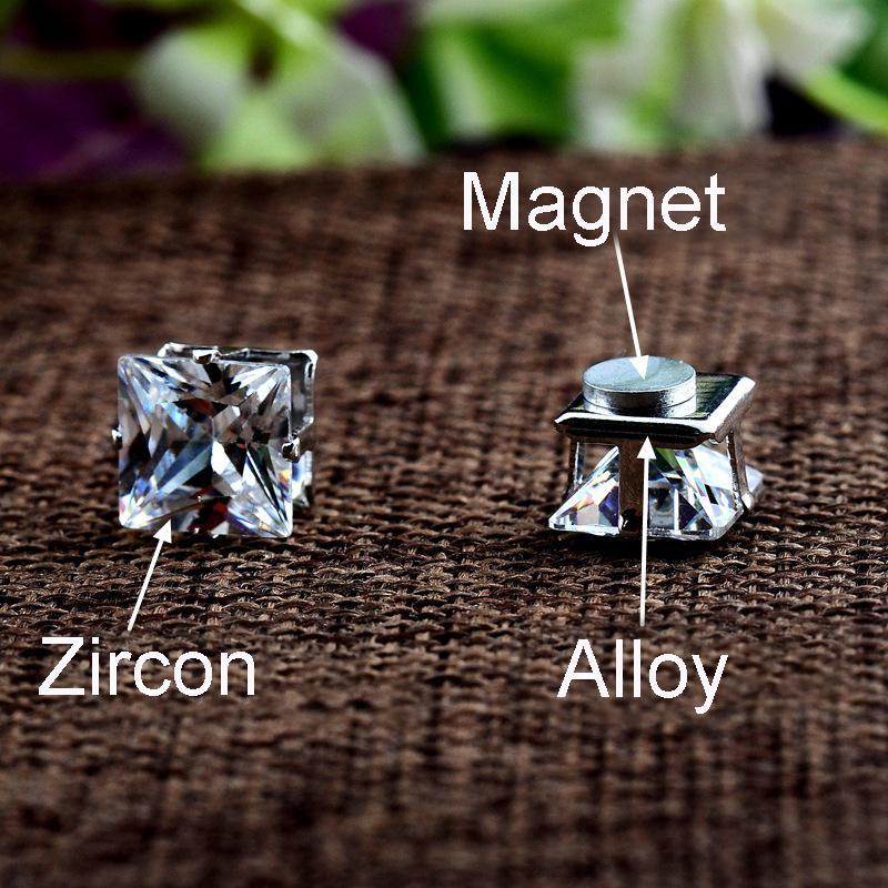 No Piercing 4/5/6/7 / 8mm Zircone Quadrato Orecchini Magnetici Le Donne Uomini Bambini Senza Foro di Cristallo Orecchini Borchie Gioielli Magnete Orecchino