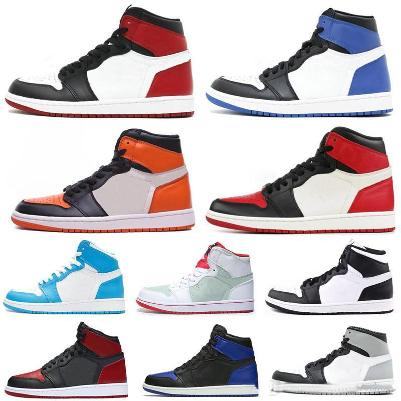 new product 6b044 5e198 Aair 1 JORDAN 1 New 1 High OG Bred Toe Banned Game Royal Basketball Shoes  Men 1s Top 3 Shattered Backboard Shadow Sneakers High Quality