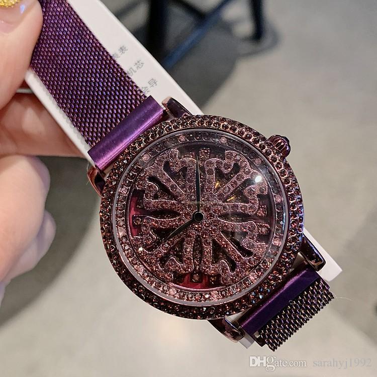 Mashali Brand Watch Women s Magnetic Strap New Purple Ladies Watch 360°  Rotating Watches Fashion Trend Personality Iron Strap Women s Watch