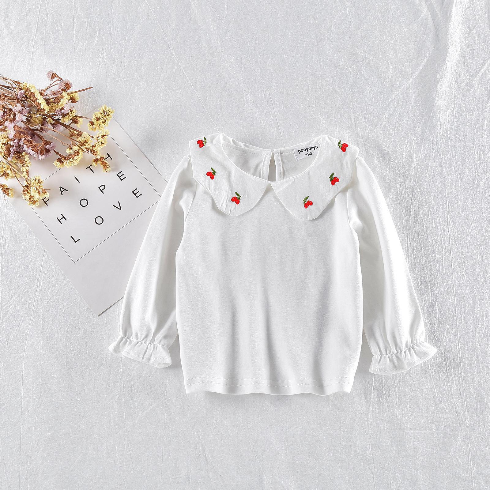 dd9f78b9faed8 Acheter Enfant En Bas Âge Enfants Filles À Manches Longues Mignon Cerise  Broderie Vêtements Petite Fille Blouse Blanc Bottom T Shirt Princesse Tops  ...