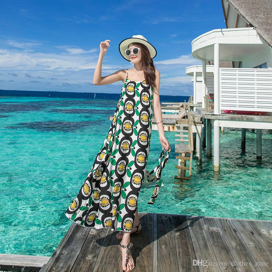 3f769b2d87 Maxi Dresses For Women Summer Green Apple Print Sun Soft Boho Holiday Beach  New Look Fashion Airy Dress UK 2019 From Clothes_zone, GBP £14.71 | DHgate  UK