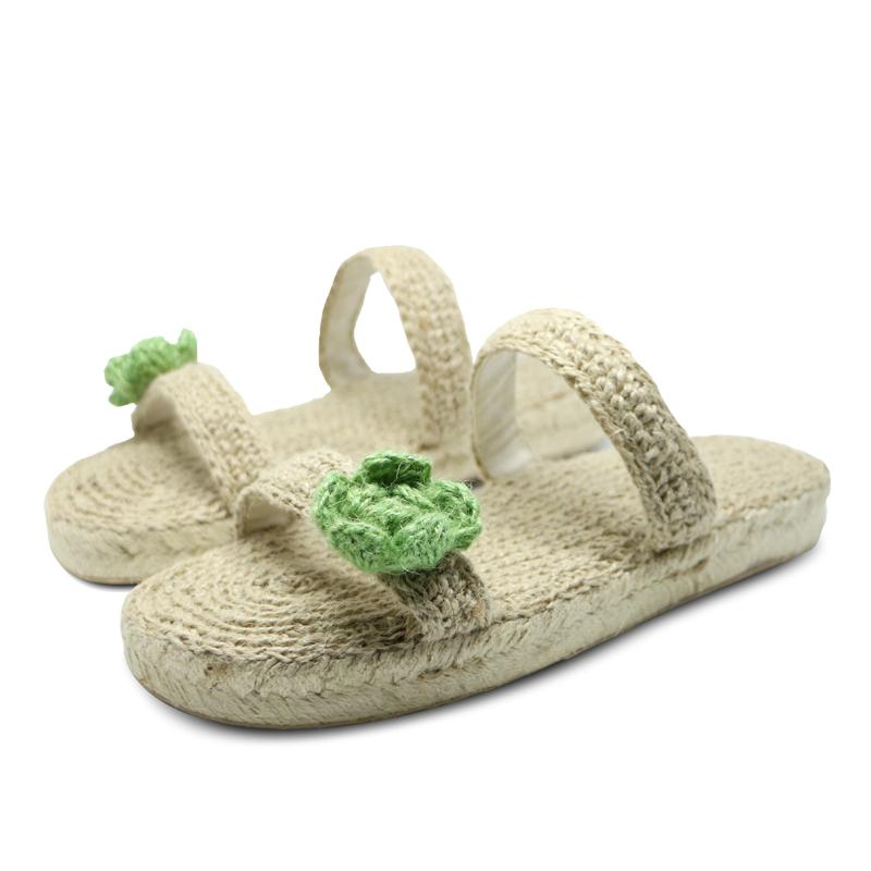 nice shoes online retailer on feet images of Fashion Hand-made Jute Cotton Slipper Women Shoes Green Flower
